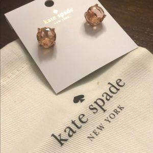 Kate Spade Light Peach Gumdrop Gold Earrings